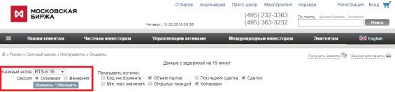 доска опционов на сайте московской биржи